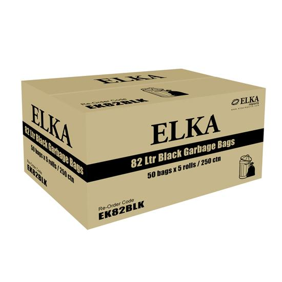 82L BLACK GARBAGE BAGS - CARTON OF 250-ELKA-Task Supplies
