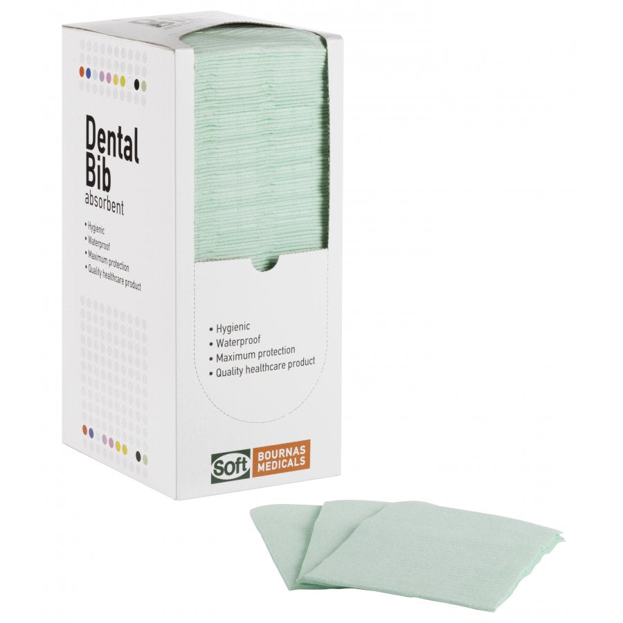 Dental Bib - 2ply Paper + 1Ply Plastic - Absorbent - Green - Box (125 pieces)