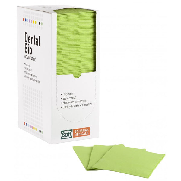 Dental Bib - 2ply Paper + 1Ply Plastic - Absorbent - Lime Green - Carton (500 Pieces)