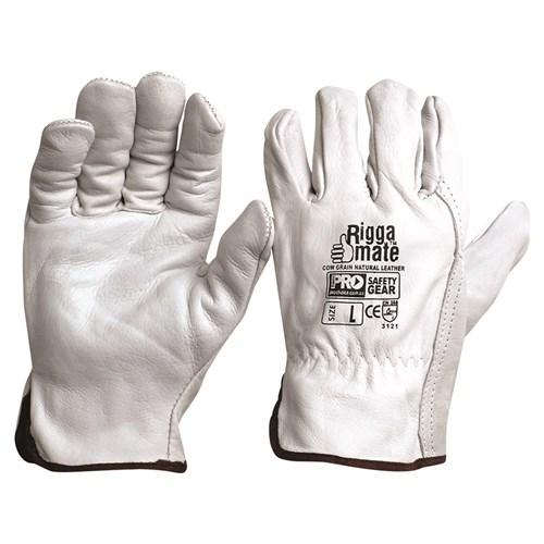 COW GRAIN NATURAL GLOVE - PACK OF 12 PAIRS-RIGGAMATE-Task Supplies