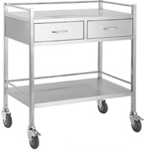 DOUBLE SHELF TROLLEY - 2 DRAWER SIDE-TASK-Task Supplies