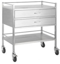 DOUBLE SHELF TROLLEY - 2 DRAWER-TASK-Task Supplies