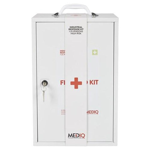 ESSENTIAL INDUSTRIAL RESPONSE FIRST AID KIT IN METAL WALL CABINET-MEDIQ-Task Supplies