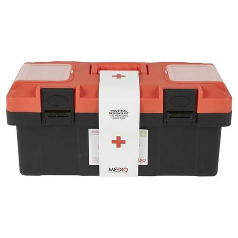 ESSENTIAL INDUSTRIAL RESPONSE FIRST AID KIT IN PLASTIC TACKLE BOX-MEDIQ-Task Supplies
