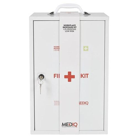 ESSENTIAL WORKPLACE RESPONSE FIRST AID KIT IN METAL WALL CABINET-MEDIQ-Task Supplies