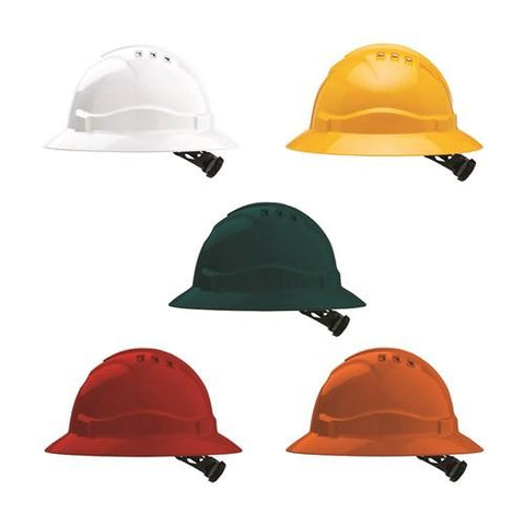 HARD HAT VENTED FULL BRIM RATCHET HARNESS-V6-Task Supplies