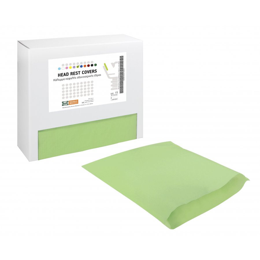 Dental Head Rest Cover - 1ply Paper + 1ply Plastic - Light Green - Pack (150 Pieces)