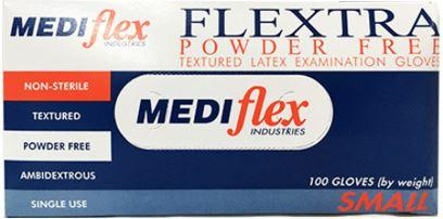 MEDIFLEX FLEXTRA GLOVES LATEX POWDER FREE BOX-100-MEDIFLEX-Task Supplies