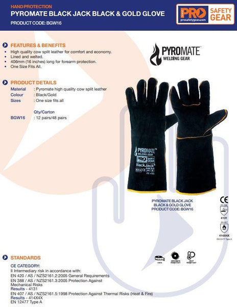 PYROMATE® BLACK JACK® - BLACK & GOLD GLOVE LARGE - PACK OF 12 PAIRS-PYROMATE-Task Supplies