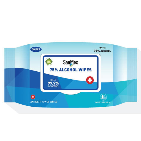 Saniflex 75% Alcohol Sanitary Wipes - 50 Pack-SANIFLEX-Task Supplies