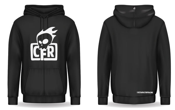 Black zip up Hoodie with white CFR Logo on front.