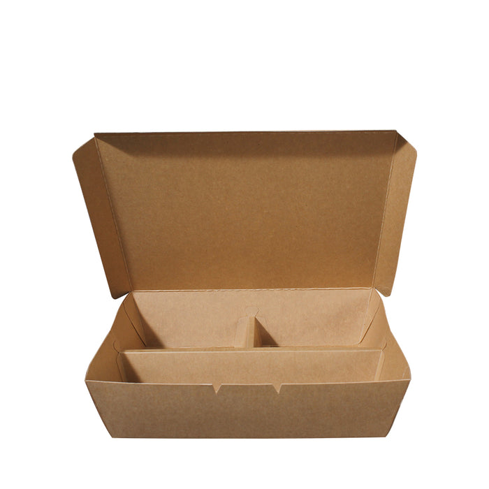 Paper Lunch Box Brown Kraft 3 Compartment 700ml - Laser Food Packaging Malaysia SDN. BHD.