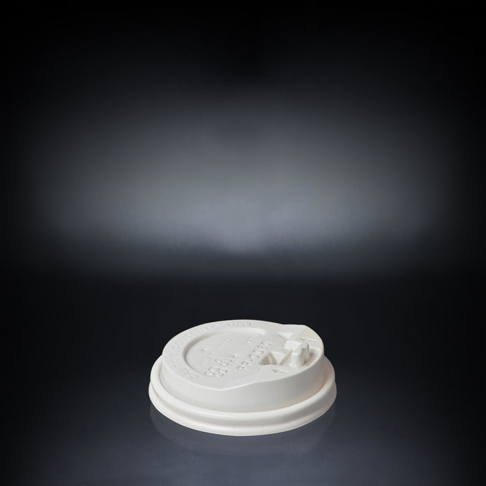 Plastic Coffee Cup Dome Lid with Modern White Design 90mm - Laser Food Packaging Malaysia SDN. BHD.