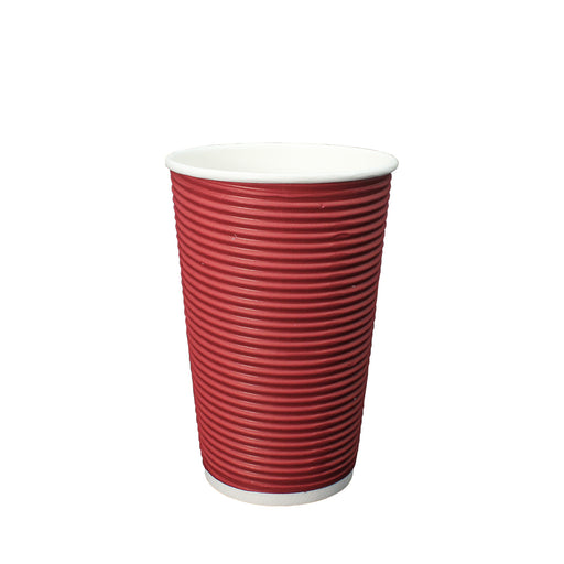 Double Wall Red Ripple Paper Hot Coffee Cup 16oz 90mm Diameter - Laser Packaging Malaysia SDN. BHD