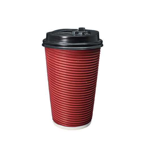 Double Wall Red Ripple Paper Hot Coffee Cup 16oz 90mm Diameter - Laser Food Packaging Malaysia SDN. BHD.