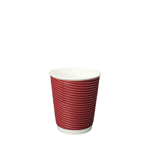 Double Wall Red Ripple Paper Hot Coffee Cup 8oz 80mm Diameter - Laser Food Packaging Malaysia SDN. BHD.