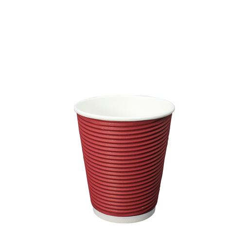 Double Wall Red Ripple Paper Hot Coffee Cup 12oz 90mm Diameter - Laser Food Packaging Malaysia SDN. BHD.