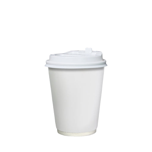 Double Wall White Paper Hot Coffee Cup 8oz 80mm Diameter - Laser Food Packaging Malaysia SDN. BHD.