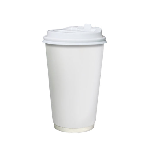 Double Wall White Paper Hot Coffee Cup 16oz 90mm Diameter - Laser Food Packaging Malaysia SDN. BHD.