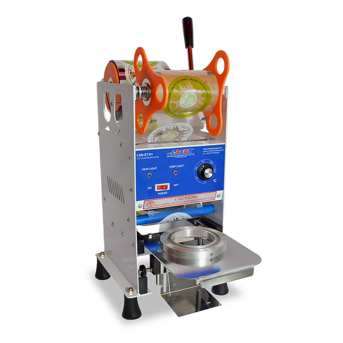 White Manual Cup Sealer Machine for Sealing Bubble Milk Tea 100-150 cups/hr with 95mm/90mm Diameter for Standard Cup Seal - Laser Packaging