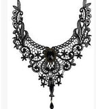 Crystal black lace necklace