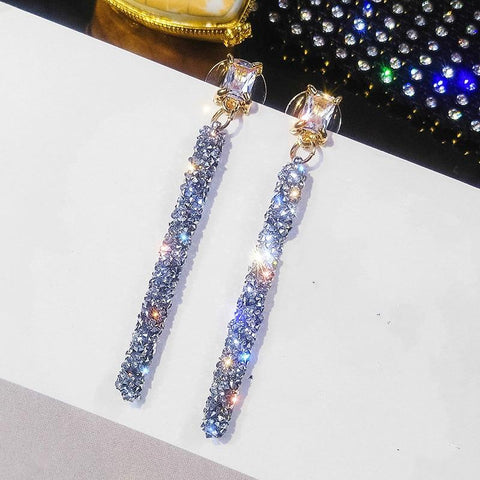 Crystal long pendant earrings