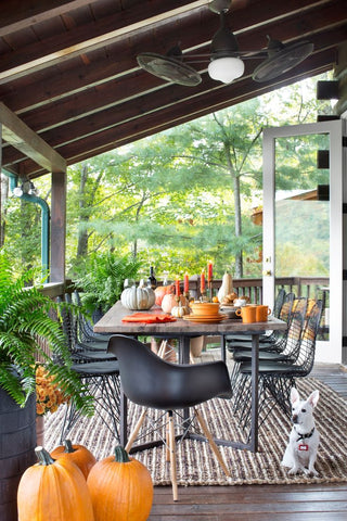 modern patio fall decor