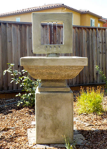 An image of the Contempo Square modern fountain in a natural stone color from Creative Living.