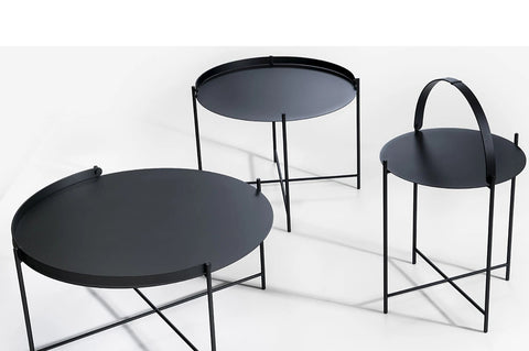 An image showing the three different sides and the optional handle on the Edge outdoor table from Creative Living.
