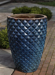 facet planter tall rustic blue