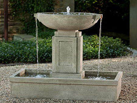 An image of the Austin modern fountain from Creative Living in a natural stone color.