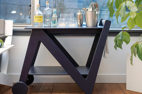 An image showing the unique design of the Rapson Bar Cart from Creative Living.