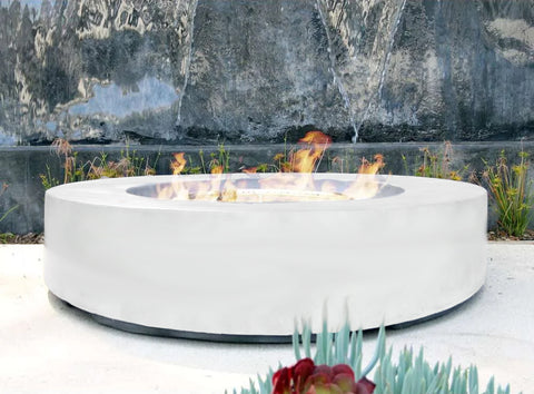 An image of the Round CL Steel modern fire pit from Creative Living in white.