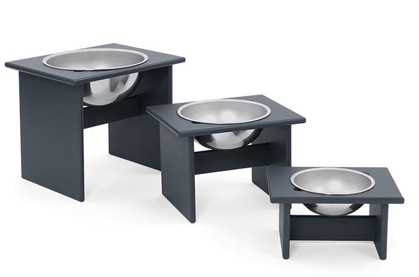 An image of the small, medium, and large Single Dog Bowls in black from Creative Living's collection of modern patio furniture.