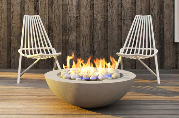 An image of the Kratos modern fire pit from Creative Living.