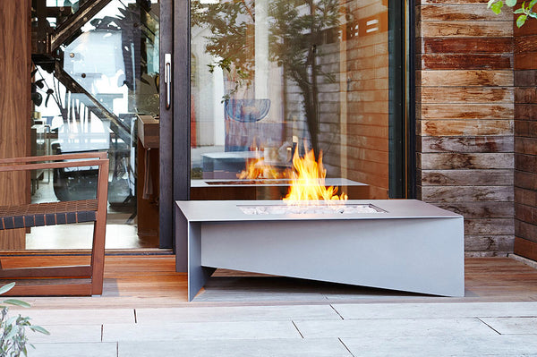An image of the Fold Steel modern fire pit from Creative Living in grey.