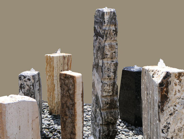 An image of seven Column Stone modern fountain from Creative Living.