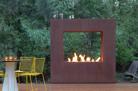 An image of the Cor-Ten Steel Kodo modern fire pit in a rust color from Creative Living.