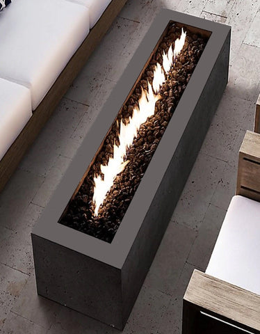 An overhead image of the Linear CL Steel modern fire pit from Creative Living.