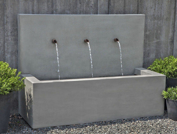An image of the Long Beach modern fountain with three spouts from Creative Living.