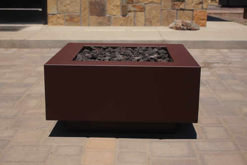 An image of the Square CL Steel modern fire pit from Creative Living in brown.