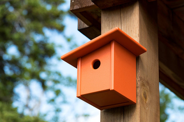 An image of Creative Living's Modern Bird House in orange from their collection of modern patio furniture.