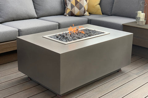 An image of the Rectangular modern fire pit in grey from Creative Living.