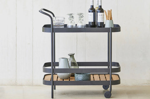 An image of Creative Living's Roll Outdoor Modern Bar Cart from their collection of modern patio furniture.