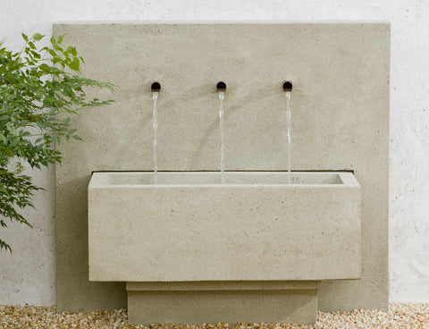 An image of the X3 modern fountain from Creative Living in the natural color.