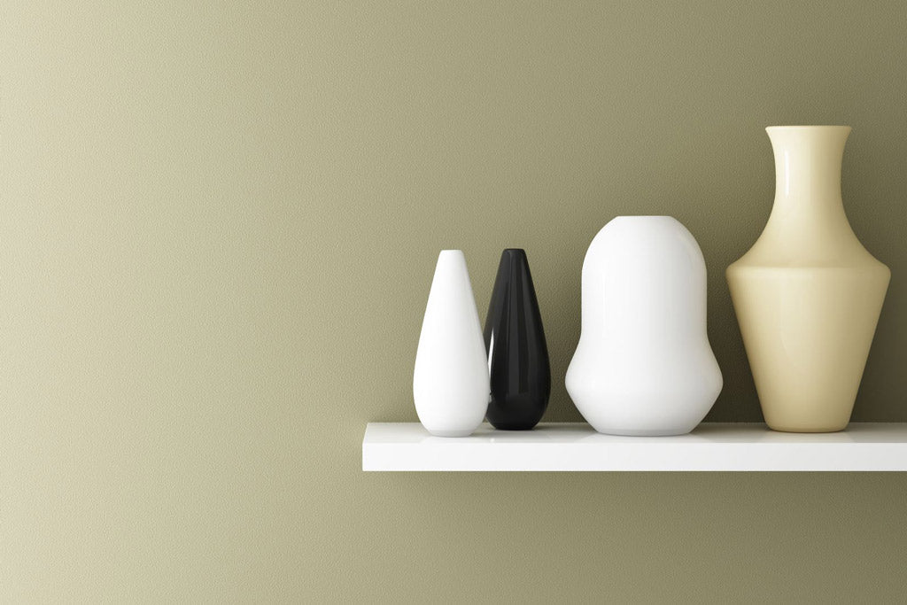 vases on a shelf