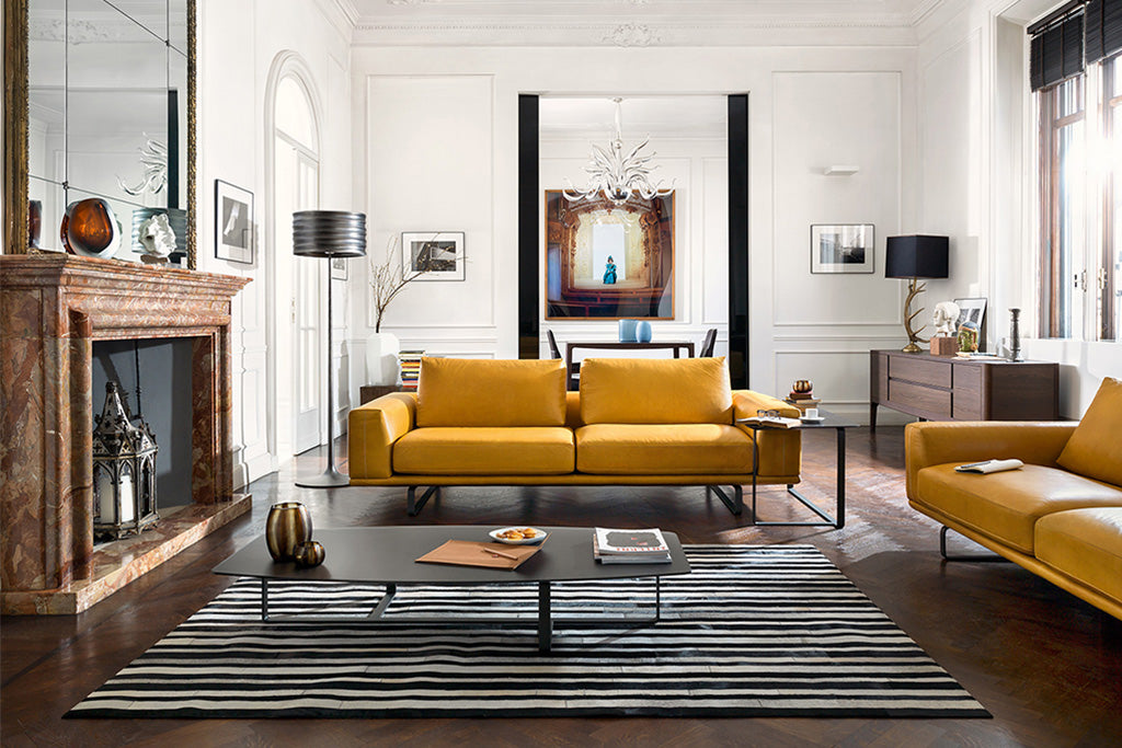 stylish leather lounge with yellow sofa couch