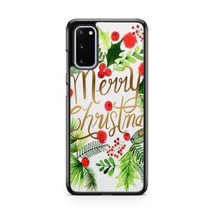Merry Christmas Foliage Frame Samsung Galaxy S20 Phone Case