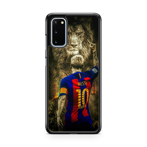 Lionel Messi Lion Messi 10 And Football Samsung Galaxy S20 Phone Case