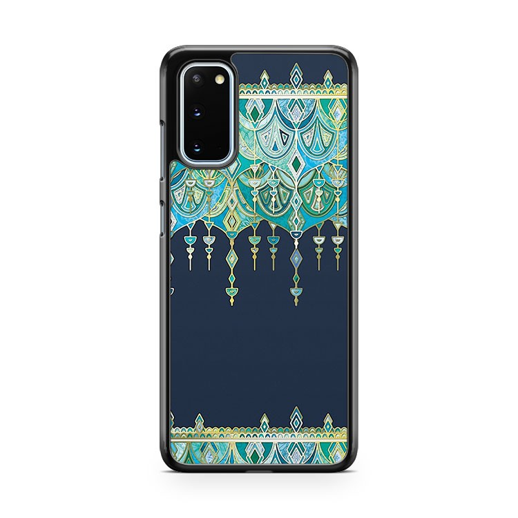 Art Deco Double Drop In Blues And Greens Samsung Galaxy S20 Phone Case